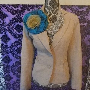Turquoise and gold handmade fabric flower pin
